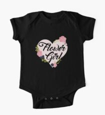 Flower Girl Roses Pink Heart One Piece - Short Sleeve