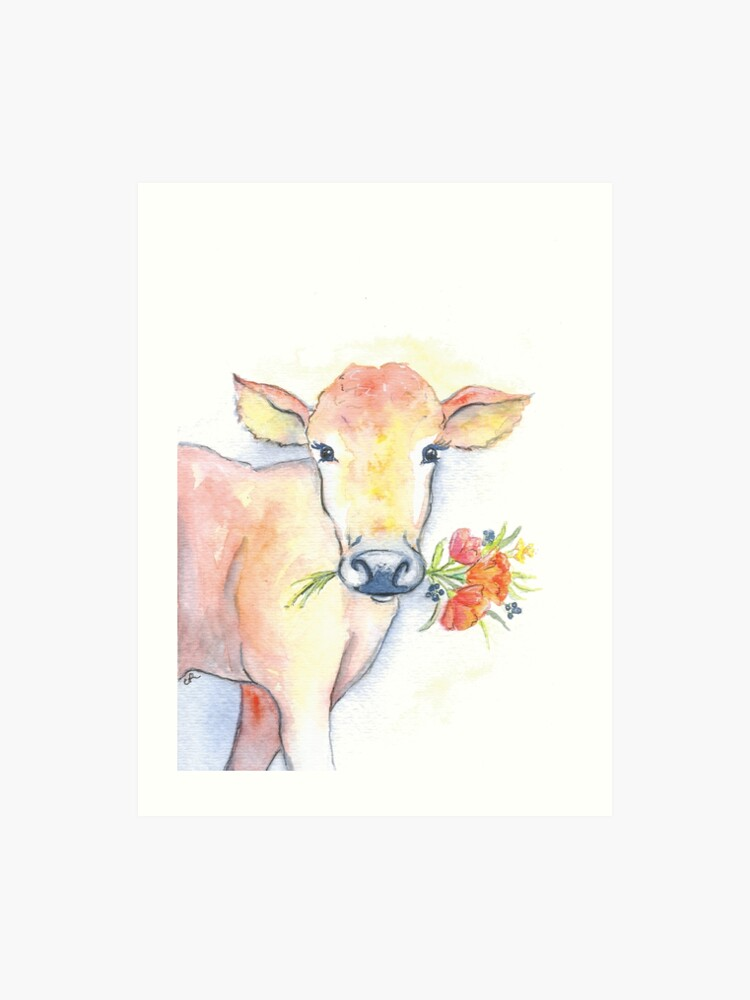 Farm House Cow Watercolor Art Print By Christierenfro Redbubble