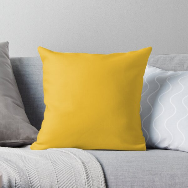Golden Yellow Solid Hue - 2022 Color - Shade Matches Farrow and Ball Babouche 223 - Colour Trends - Popular Shade Throw Pillow
