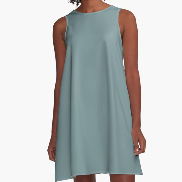 Medium Blue Solid Hue - 2022 Color - Shade Matches Farrow and Ball Stone Blue 86 - Colour Trends - Popular Shade A-Line Dress