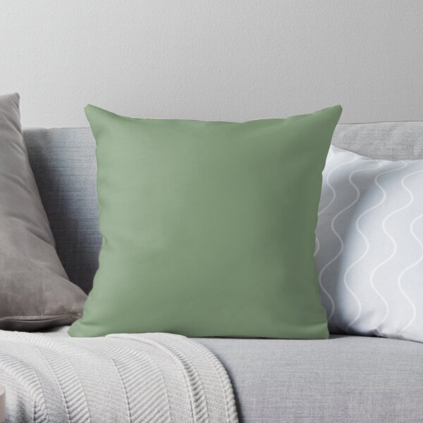 Medium Green Solid Hue - 2022 Color - Shade Matches Farrow and Ball Breakfast Room Green No.81 - Colour Trends - Popular Shade Throw Pillow