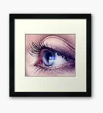 Closeup of woman eye with blue screen reflecting in it art photo print Framed Print
