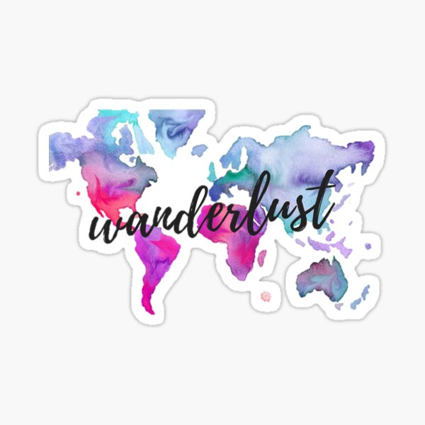 Wanderlust Watercolor Map Sticker