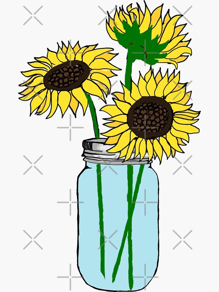 sunflowers in blue jar by lolosenese