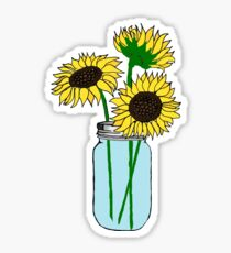 sunflowers in blue jar Sticker