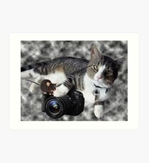 "(CAT) ""SAY CHEESE"" (MOUSE)""DID SOMEONE SAY CHEESE?"" CAT & MOUSE PHOTOGRAPHER - PICTURE & CARD Art Print"