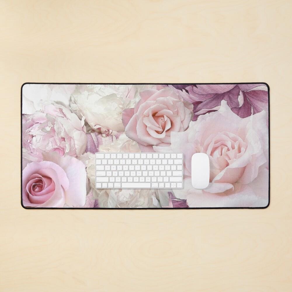 Big Soft Pink Roses Summertime Botanical Garden Flowers  Mouse Pad