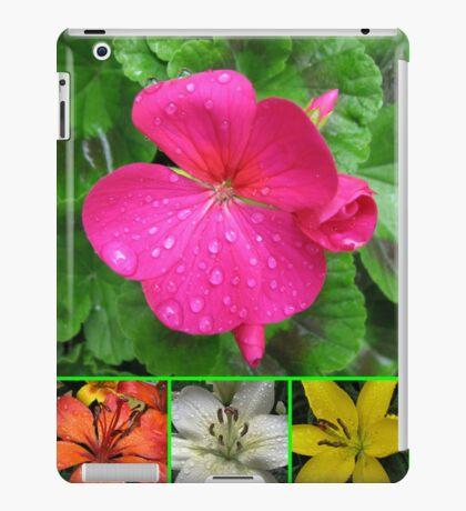 Raindrops On Petals Collage iPad-Hülle & Klebefolie