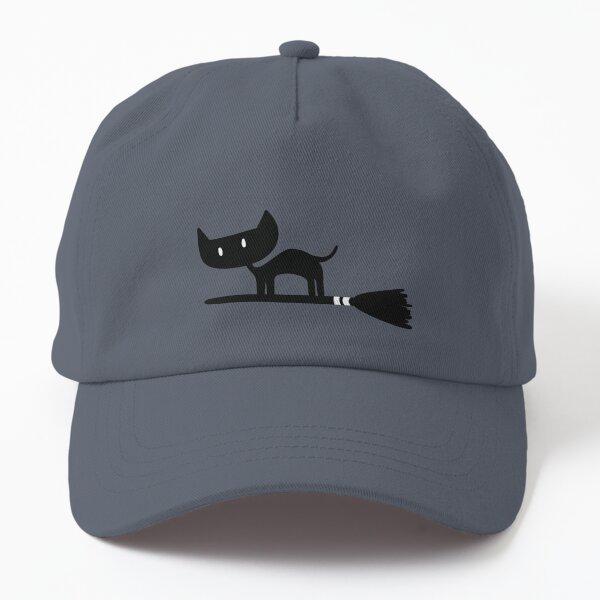 Black Cat on Broomstick Dad Hat