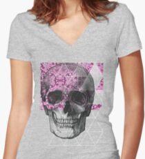 Dias de Los Geomuertos *Rosa Fuerte* Women's Fitted V-Neck T-Shirt