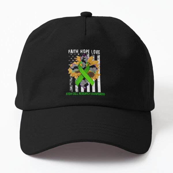 Sunflower Faith Hope Love Cross and Flag Stem Cell Research Awareness Dad Hat