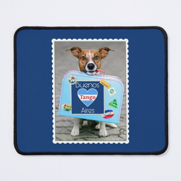 Traveling Puppy Dog with Tango Buenos Aires Suitcase Postcard Mouse Pad