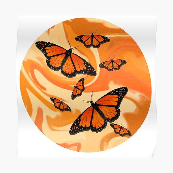 Groovy Monarch Butterflies Poster