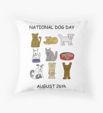 National Dog Day August 26th Throw Pillow