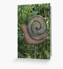 wooden snail in the garden Greeting Card