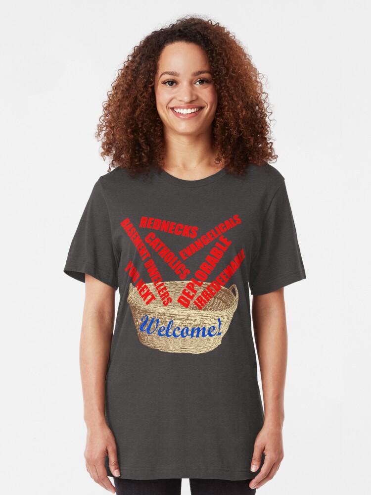 Alternate view of Welcome Basket Of Deplorables Catholics Rednecks Slim Fit T-Shirt
