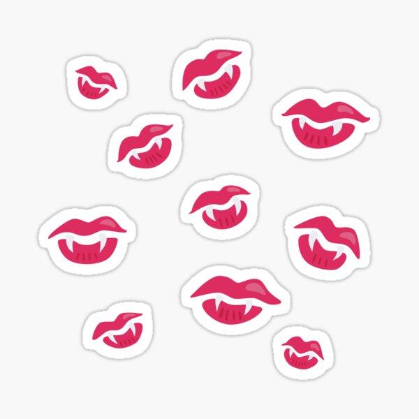 Vampire Lips With Fangs Pattern Sticker