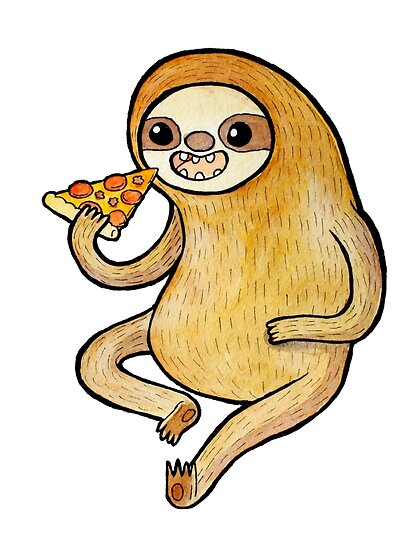 Sloth Eating Pizza by katiecrumpton
