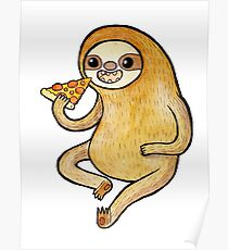 Sloth Eating Pizza Poster