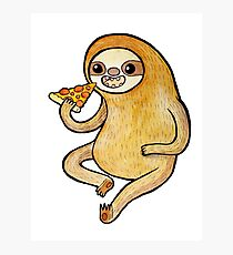Sloth Eating Pizza Photographic Print