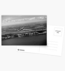 Lancaster over the white cliffs in Kent black and white version Postcards