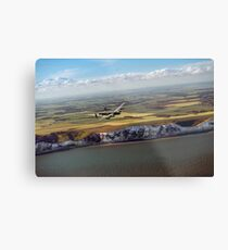 Lancaster over the white cliffs in Kent Metal Print