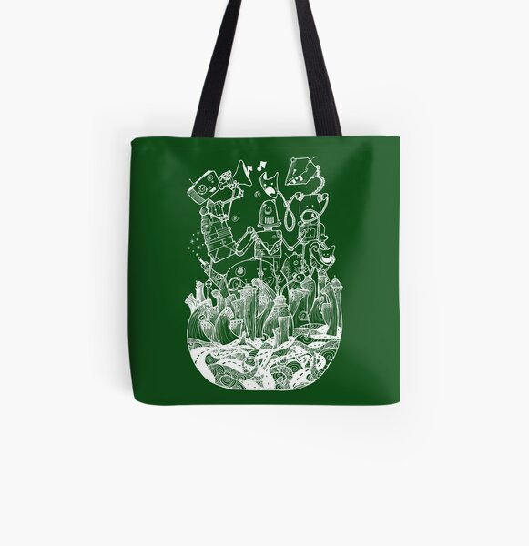 White robots All Over Print Tote Bag