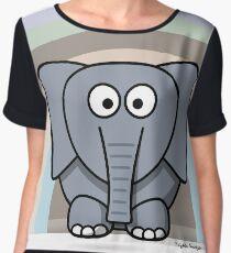 Cool Funny Cartoon Elephant Rainbow Cute Design Chiffon Top