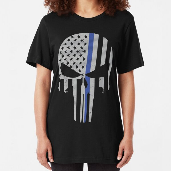 Military Skull [Tactical Flag] Slim Fit T-Shirt
