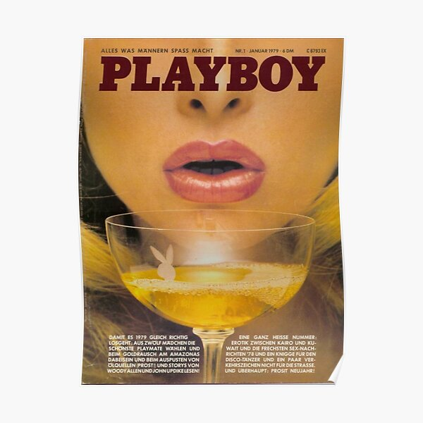 Playboy magazine cover red vintage pretty girl face aesthetic  Poster