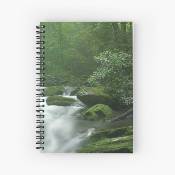 Roaring Fork River Flowing Through Forest In Great Smoky Mountains National Park Spiral Notebook