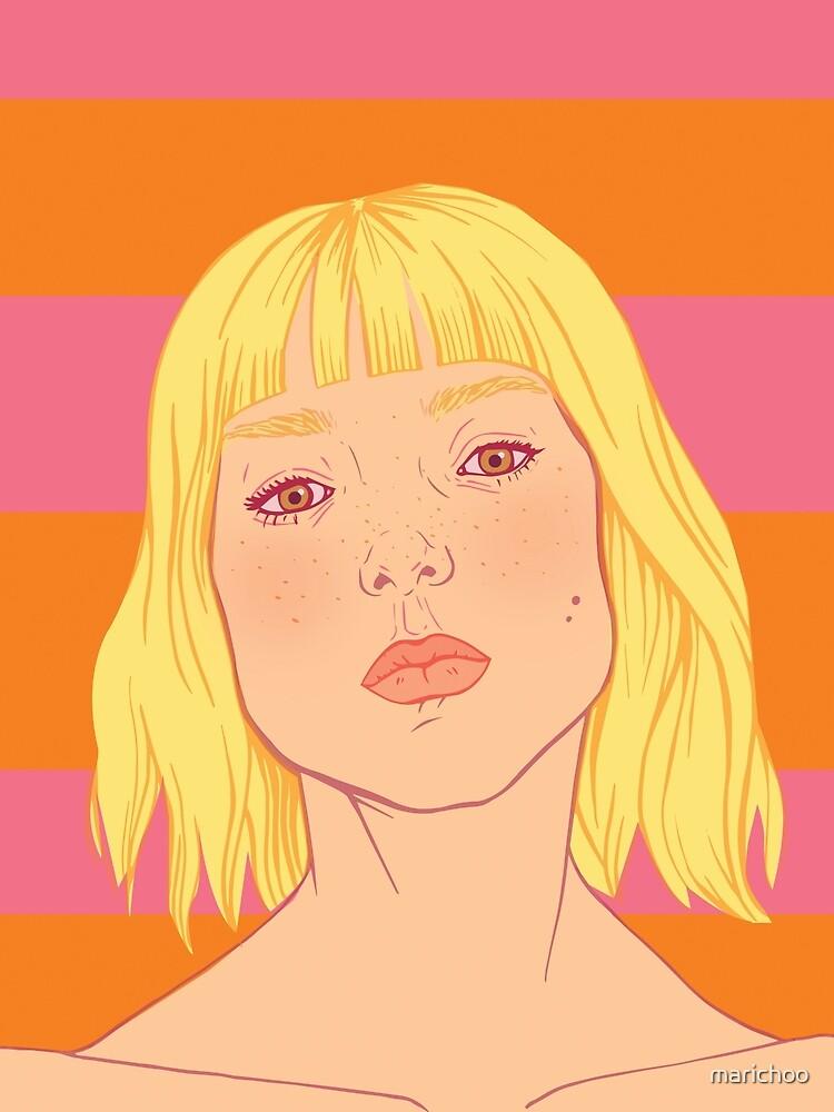 Fashion; Blonde Girl & Stripes by marichoo