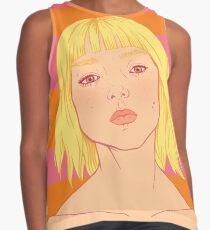 Fashion; Blonde Girl & Stripes Sleeveless Top
