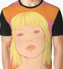 Fashion; Blonde Girl & Stripes Graphic T-Shirt