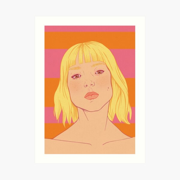 Fashion; Blonde Girl & Stripes Art Print