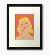 Fashion; Blonde Girl & Stripes Framed Print