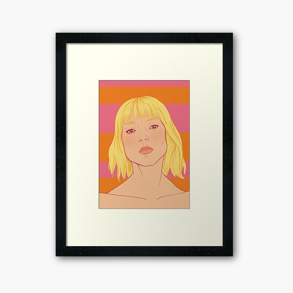 Fashion; Blonde Girl & Stripes Framed Art Print