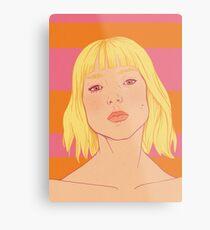 Fashion; Blonde Girl & Stripes Metal Print