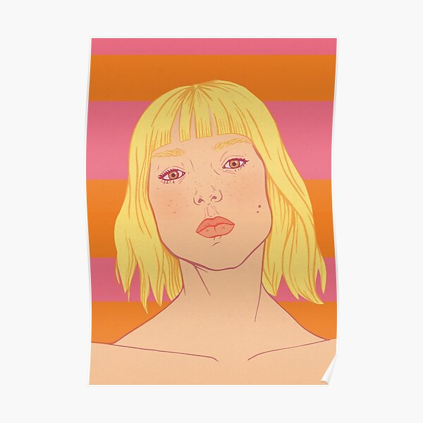Fashion; Blonde Girl & Stripes Poster