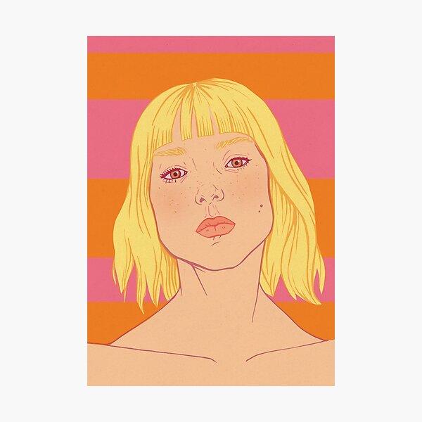 Fashion; Blonde Girl & Stripes Photographic Print