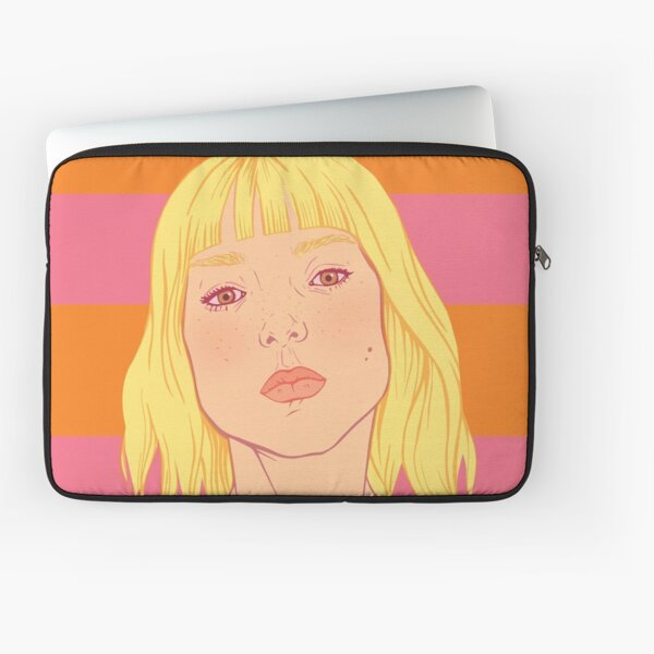 Fashion; Blonde Girl & Stripes Laptop Sleeve