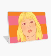 Fashion; Blonde Girl & Stripes Laptop Skin