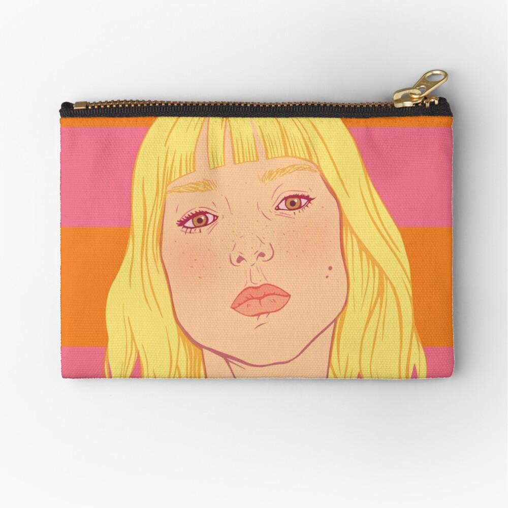 Fashion; Blonde Girl & Stripes Zipper Pouch