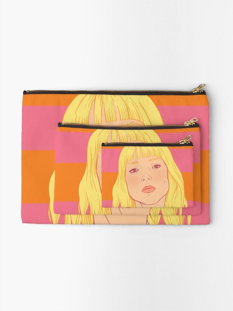 Alternate view of Fashion; Blonde Girl & Stripes Zipper Pouch