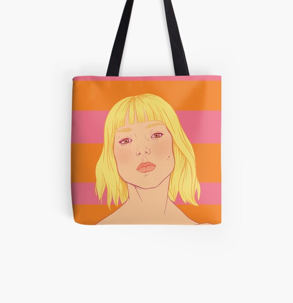 Fashion; Blonde Girl & Stripes All Over Print Tote Bag