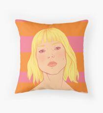 Fashion; Blonde Girl & Stripes Throw Pillow