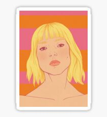 Fashion; Blonde Girl & Stripes Sticker