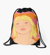 Fashion; Blonde Girl & Stripes Drawstring Bag
