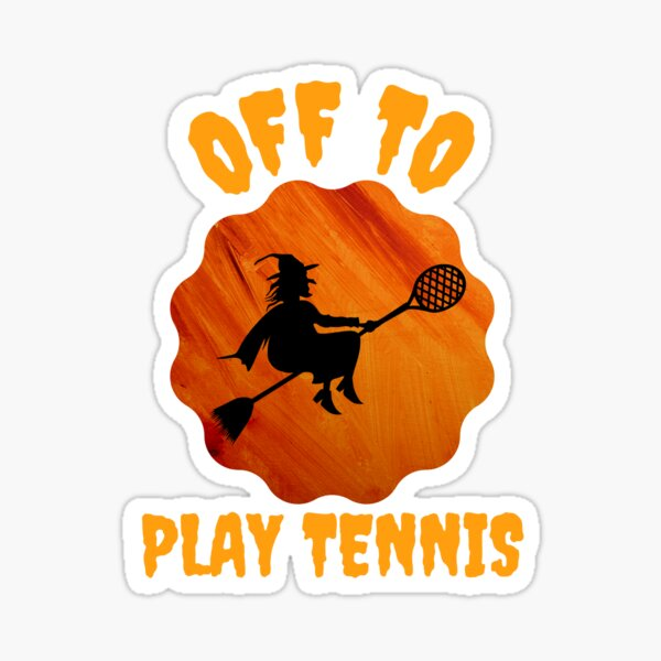 Halloween Witch Off to Play Tennis Sticker