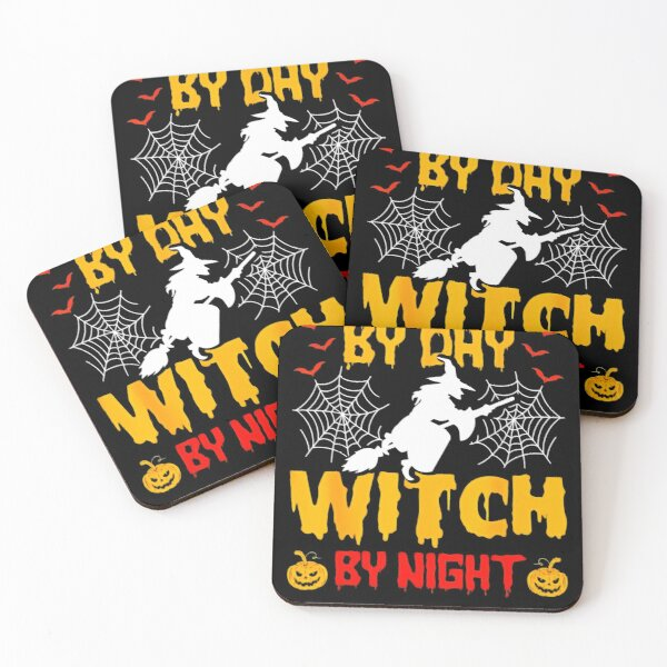 Housekeeping By Day Witch By Night Housekeeping Halloween Coasters (Set of 4)